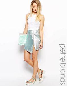 ASOS   Girls On Film Petite Metallic Wrap Skirt #asos #metallic #skirt
