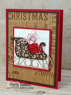 Christmas 3x3 square on on card, featuring Stampin Up stamps, paper, ink. Santa's Sleigh bundle and Merry Medley background stamp.