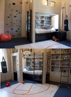 Oh my look at this teen boyu0027s sports room! or maybe the basement? & 20 Very Cool Kids Room Decor Ideas | Pinterest | Cheap beds Decor ...