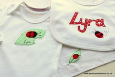 Ladybirds for Lyra Bramble, Baby Design, Baby Gifts, Custom Design, Applique, Girly, Kids, Handmade