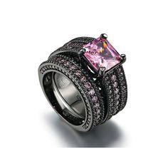 Zealmer Black Gun Gold Plated Princess Cut Pink Cubic Zirconia CZ Engagement Bridal Rings Set Size 9