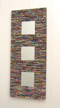 miroir coloré wall art-fabriqué à partir de magazines
