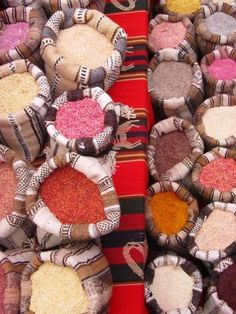 Diferent types of Quinua in a Peruvian market.