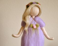 Items similar to Purple Flower Fairy Nursery Mobile Waldorf inspired Needle Felted : Fairy in the Branch on Etsy Wool Dolls, Felt Dolls, Fairy Nursery, Wet Felting Projects, Fairy Food, Rainbow Fairies, Wood Peg Dolls, Spring Fairy, Felt Fairy