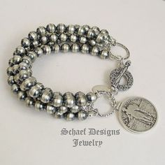 Schaef Designs sterling silver 5 strand navajo pearl bracelet with standing liberty quarter charm | New Mexico