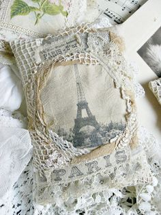 Paris pillow -- how pretty -- made by Viola of http://shabbychicinspired.blogspot.com/.  If you like this style -- check out other pix here and at her website for ideas. ~~~