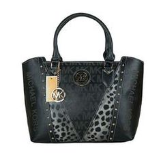 Michael Kors Logo Leopard Large Black Satchels