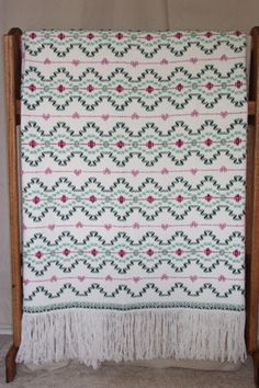 hand-weaved 'secret garden' swedish monk's cloth afghan - typically I avoid patterns with hearts