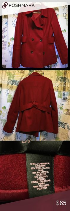 """Cardinal Red peacoat Cute red peacoat in like-new condition. Only worn a couple of times, I have another one in a darker red that I seem to wear more. 60% wool, 30% polyester, 10% viscose. Pretty warm for its thickness. Size 14, fits more like a 12, especially if you're wearing thicker layers. No defects to note. 29"""" from shoulder to hem, 26"""" sleeves. Victoria's Secret Jackets & Coats Pea Coats"""