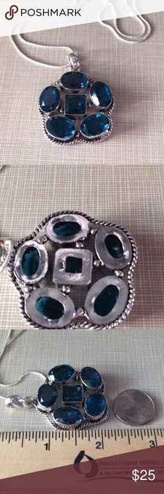 Big Set beautiful blue topaz pendant silver 925ear This handcrafted silver lab 925 overlay pendant comes with a free 17' 925 chain NWOT and the topaz earrings stamped 925 about 2' long very pretty Jewelry Necklaces