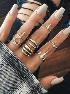 Cone Detail Ring Set 7pcsFor Women-romwe