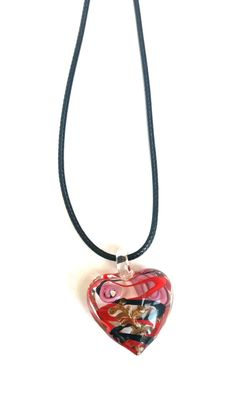 Heart pendant necklace Murano glass heart by LozziGoodsJewellery