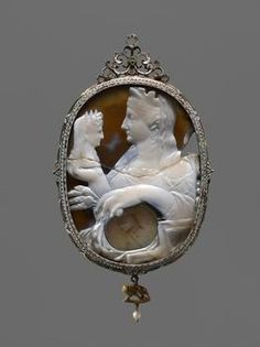 Glyptic  Cameo: Livia with bust of Divus Augustus  Roman, Early Empire  14 to 29 AD, the frame is early 17th century.
