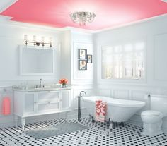 love the idea of painting just the the ceiling! can I have a bathroom this big please?