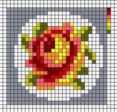 "Photo from album ""Бутоньерки мини"" on Yandex. Mini Cross Stitch, Cross Stitch Cards, Cross Stitch Rose, Cross Stitch Flowers, Cross Stitching, Bead Loom Patterns, Beading Patterns, Embroidery Patterns, Beaded Embroidery"