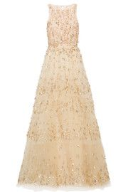 Tiered embellished tulle gown