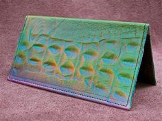 Handmade Checkbook Holder, Genuine Leather, embossed Alligator Emu Ostrich Airbrushed Art Painting Rainbow Multicolored Green Blue Red by thoseshoes on Etsy https://www.etsy.com/listing/91328849/handmade-checkbook-holder-genuine