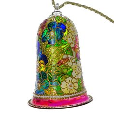 Spring Flowers Hand Painted Glass Bell by HolidayGiftShops on Etsy