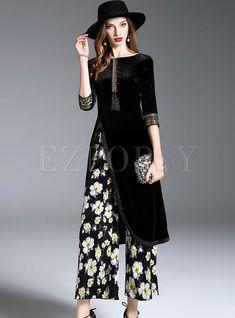 Black Velvet Slit Skater Dress & Stereoscopic Flower Print Wide Leg Pants Two-piece Outfits Muslim Fashion, Indian Fashion, Dress Over Pants, Mein Style, Casual Summer Outfits, Dress Casual, Two Piece Outfit, Couture Fashion, Steampunk Fashion