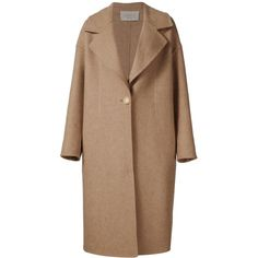 Grey Jason Wu single breasted long coat ($777) ❤ liked on Polyvore featuring outerwear, coats, brown, beige wool coat, long woolen coats, woolen coat, longline coat and long brown coat