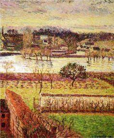 Flood, Twilight Effect, Eragny - Camille Pissarro