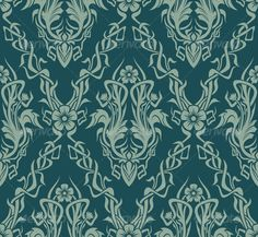 Art Nouveau Wallpaper Designs on WallpaperSafari Baroque, Art Nouveau Wallpaper, Graphic Prints, Graphic Design, Art Deco Tiles, Art Nouveau Flowers, Classic Wallpaper, Monster House, Vintage Grunge