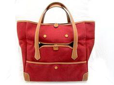Auth-Hermes-Toile-Passe-Passe-Handbag-Tote-Bag-Rouge-Casaque-Red