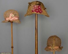 Three Little Girls' Cloches, 1920s, Augusta Auctions, April 9, 2014 - NYC, Lot 379