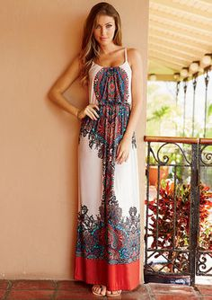 A printed maxi dress is casual and comfortable.