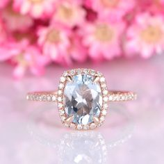 Aquamarine engagement ring 6x8mm oval natural VS aquamarine solid 14k rose gold diamond halo diamond thin band birthstone anniversary ring by yvelove on Etsy Vintage Oval Engagement Rings, Morganite Ring, One Ring, Engraved Rings, Conflict Free Diamonds, 18k Rose Gold, Anniversary Rings, Halo Diamond, Solid Gold