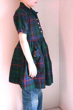 Vintage girls dress size 6/7 blackwatch tartan by fuzzymama