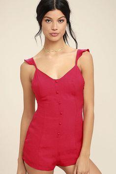 Cute Berry Red Romper - Sleeveless Romper - Backless Romper - Lace-Up Romper - $48.00 Lulus