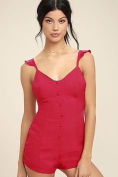 Lulus Exclusive! When it doubt, bust a move and slip into the Dance it Out Berry Red Backless Romper! Lightweight woven rayon starts at strappy, ruffled sleeves, and carries into a triangle bodice with decorative button placket. Low, lace-up back (with a bit of elastic), tops flirty shorts. Hidden back zipper/clasp.