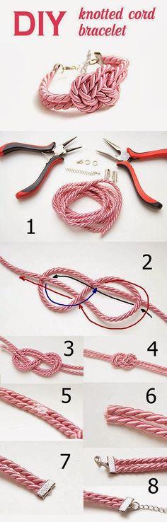 Knotted cord bracelet DIY