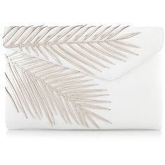 Henri Bendel Debutante Palm Clutch (€125) ❤ liked on Polyvore featuring bags, handbags, clutches, purses, bolsas, white, white handbags, white leather handbags, genuine leather purse and metallic leather handbags