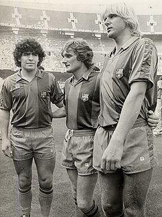Maradona, Simonsen, Schuster. FCBarcelona 1982-1983.