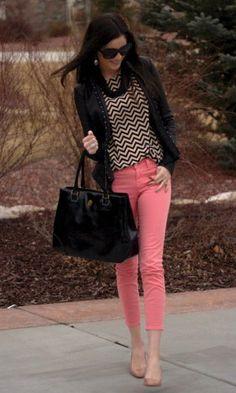 Love the coral skinnies. Colored jeans obsession.
