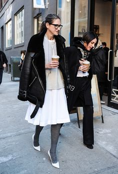 Jenna Lyons outside the Tim Coppens show on February 15, 2015 in New York City.