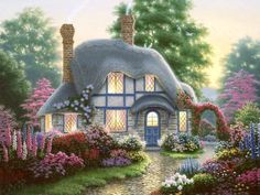 Challenge your friends to solve this and other beautiful puzzles. Thomas Kinkade Art, Kinkade Paintings, English Country Cottages, Lake Art, Cottage In The Woods, Landscape Pictures, Artist At Work, Sunsets, Photo Art