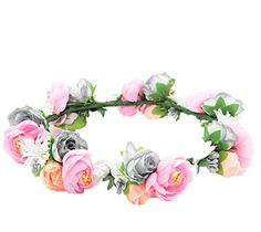 Love Sweety Flower Crown Flower Headband Hair Wreath for Wedding Featival Pink Grey *** To view further for this item, visit the image link.