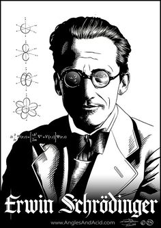 'Erwin Schrödinger' Poster by AnglesAndAcid Richard Feynman Quotes, Schrodingers Cat, Thought Experiment, Science Illustration, E Mc2, Quantum Mechanics, Quantum Physics, Physicist, Science Art