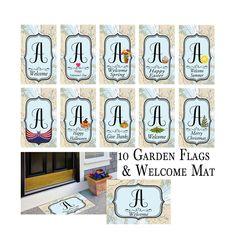 Nautical Garden Flag & Welcome Mat Bundle