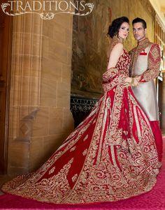 metallic and red sherwani