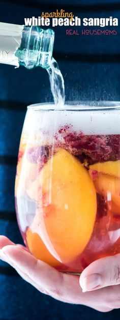 Sparkling White Peach Sangria is a great brunch or summer cocktail! Making it ah… Sparkling White Peach Sangria is a great brunch or summer cocktail! Making it ahead makes it a great recipe for a party and the taste is fantastic! Refreshing Drinks, Summer Drinks, Cocktail Drinks, Fun Drinks, Cocktail Recipes, Alcoholic Drinks, Beverages, Brunch Drinks, Margarita Recipes