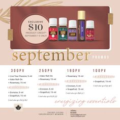 The monthly Canadian promos with Young Living. Young Living, Live For Yourself, Essential Oils, September, Essential Oil Blends