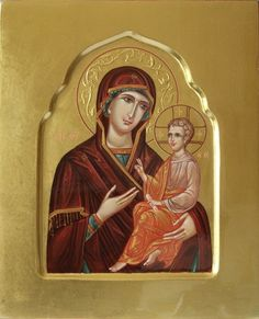 Holy Mother of God hand painted icon by Peter Dzyuba. Church Icon, Paint Icon, Russian Orthodox, Madonna And Child, Religious Icons, Orthodox Icons, Virgin Mary, Ikon, Mario