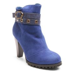 Kisses by 2 Lips Too Too Lift Women's High Heel Ankle Boots, Girl's, Size: medium (7.5), Dark Blue
