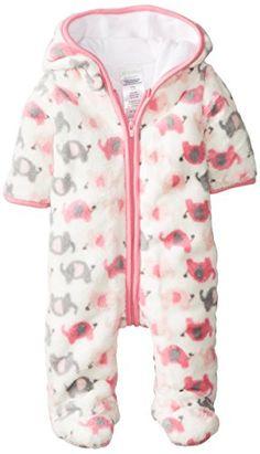 ABSORBA Baby-Girls Newborn G Elephant Fuzzy Footie, Pink Print, 0-3 Months