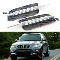 114.00$  Watch here - http://ali43e.worldwells.pw/go.php?t=32315626712 - 2pcs For BMW X5 E70 07-09 LED DRL Daytime Running Lights 12V Cree Chip 8-leds Xenon White Color drl led daylight