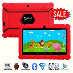 """* Halloween Sale * Contixo Kids Safe 7"""" Quad-Core Tablet 8GB, Bluetooth, Wi-Fi, Cameras, 20+ Free Games, HD Edition w/ Kids-Place Parental Control, Kid-Proof Case, 2015 Best Christmas Gift + Bonus Items (Red) - Kids Apps Pre-installed  Contixo tablet LA703 comes pre-installed with 20+ FREE action games, adventure games, and educational apps to entertain children for hours! Kids will have all the entertainment they need right out of the box. Choose from the preloaded apps and"""